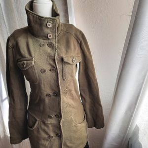 Prana Double Breasted Sweater Coat Army Green S